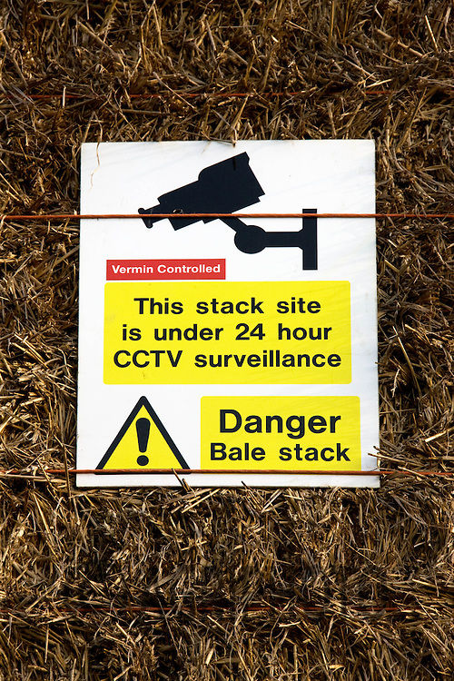 CCTV Warning sign on a bale stack.Picture by Tim Scrivener date taken 14th March 2012.mobile 07850 303986 e-mail tim@agriphoto.com.....covering agriculture in The United Kingdom....