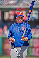 6 April 2015: New York Mets Manager Terry Collins sits watches his players take batting practice prior to the Season Opening Game against the Washington Nationals at Nationals Park in Washington, DC. The Mets rallied to defeat the Nationals 3-1 in their first meeting of the 2015 MLB season. Mandatory Credit: Ed Wolfstein Photo *** RAW (NEF) Image File Available ***