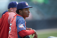 Hagerstown Suns of the Hagerstown Suns watches the action from the dugout during the game against the Kannapolis Intimidators at Kannapolis Intimidators Stadium on May 6, 2018 in Kannapolis, North Carolina. The Intimidators defeated the Suns 4-3. (Brian Westerholt/Four Seam Images)
