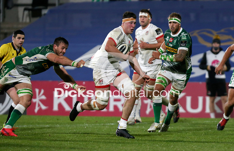 Friday 2nd October 2020 | Ulster Rugby vs Benetton Rugby<br /> <br /> David McCann on the attack during the PRO14 Round 1 clash between Ulster Rugby and Benetton Rugby at Kingspan Stadium, Ravenhill Park, Belfast, Northern Ireland. Photo by John Dickson / Dicksondigital