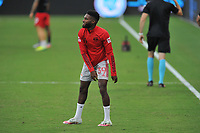WASHINGTON, DC - SEPTEMBER 12: Mandela Egbo #39 of New York Red Bulls warming up during a game between New York Red Bulls and D.C. United at Audi Field on September 12, 2020 in Washington, DC.