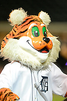 Lakeland Flying Tigers mascot South Paw during a game against the Brevard County Manatees on April 10, 2013 at Joker Marchant Stadium in Lakeland, Florida.  Brevard County defeated Lakeland 7-6.  (Mike Janes/Four Seam Images)