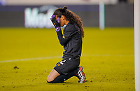 HOUSTON, TX - JANUARY 31: GK Sasha Fabrega #12 of Panama covers her face during a game between Panama and USWNT at BBVA Stadium on January 31, 2020 in Houston, Texas.
