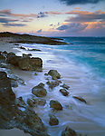 Anguilla, BWI<br /> Predawn sky with the Atlantic Ocean surf patterns on a pocket beach near Island Harbor.  Windward Islands of the Caribbean