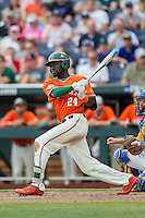 Miami Hurricanes outfielder Jacob Hayward (24) follows through on his swing against the UC Santa Barbara Gauchos in Game 5 of the NCAA College World Series on June 20, 2016 at TD Ameritrade Park in Omaha, Nebraska. UC Santa Barbara defeated Miami  5-3. (Andrew Woolley/Four Seam Images)