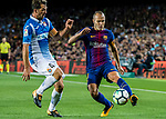 Andres Iniesta Lujan (R) of FC Barcelona fights for the ball with Víctor Sanchez Mata (L) of RCD Espanyol during the La Liga match between FC Barcelona vs RCD Espanyol at the Camp Nou on 09 September 2017 in Barcelona, Spain. Photo by Vicens Gimenez / Power Sport Images