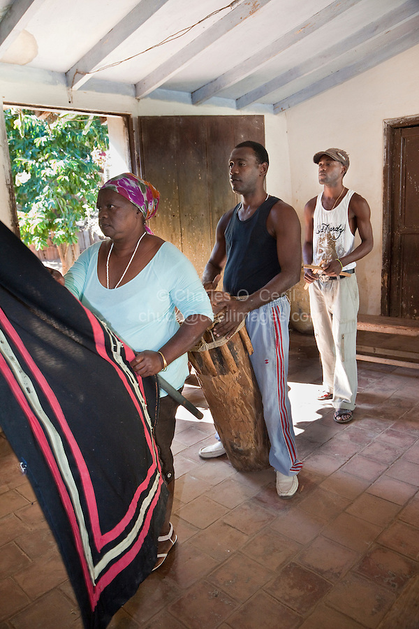 Cuba, Trinidad.  Afro-Cubans Performing an Afro-Cuban Religious Ceremony of Congolese Origin.