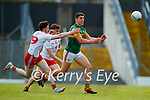Rory Brennan, Tyrone, in action against Joe O'Connor, Kerry, during the Allianz Football League Division 1 Semi-Final, between Tyrone and Kerry at Fitzgerald Stadium, Killarney, on Saturday.