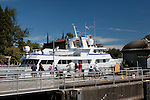 The Chittenden Locks and adjacent Carl English Gardens are major draws for tourists, locals, and the botting community.  Yachts enter and leave fresh water Lake Union for the salt of Puget Sound.