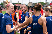 HOUSTON, TX - JUNE 12: Tierna Davidson #12 of the USWNT sits in the huddle during a training session at University of Houston on June 12, 2021 in Houston, Texas.