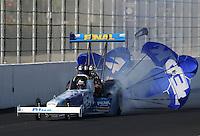 Feb. 16, 2013; Pomona, CA, USA; NHRA top fuel dragster driver T.J. Zizzo during qualifying for the Winternationals at Auto Club Raceway at Pomona.. Mandatory Credit: Mark J. Rebilas-