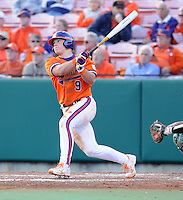 Designated hitter Phil Pohl (9) of the Clemson Tigers in a game against the University of Alabama-Birmingham on Feb. 17, 2012, at Doug Kingsmore Stadium in Clemson, South Carolina. UAB won 2-1. (Tom Priddy/Four Seam Images)
