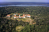 Iguassu, Brazil. Aerial view of the Tropical Hotel das Cataratas at the Iguassu waterfalls.