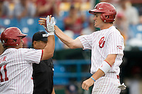 Oklahoma's Chris Ellison in Game 3 of the NCAA Division One Men's College World Series on Sunday June 20th, 2010 at Johnny Rosenblatt Stadium in Omaha, Nebraska.  (Photo by Andrew Woolley / Four Seam Images)