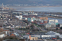 General view of Saint Thomas and the SA1 development in the docks area of Swansea, Wales, UK. Wednesday 30 January 2019