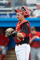 Batavia Muckdogs catcher Adam Lewis #12 during a NY-Penn League game against the Williamsport Crosscutters at Dwyer Stadium on August 26, 2012 in Batavia, New York.  Batavia defeated Williamsport 7-1.  (Mike Janes/Four Seam Images)