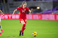 ORLANDO, FL - FEBRUARY 21: Gabrielle Carli #14 of the CANWNT dribbles the ball during a game between Argentina and Canada at Exploria Stadium on February 21, 2021 in Orlando, Florida.