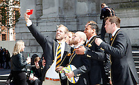 Photo: Richard Lane/Richard Lane Photography. Wasps in the City, Paternoster Square, London. 30/04/2015. Wasps' James Haskell takes a selfie in front of St. Paul's Cathedral.