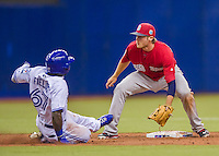 1 April 2016: Boston Red Sox infielder Josh Rutledge waits for the throw as Toronto Blue Jays outfielder Roemon Fields steals second in the 9th inning of a pre-season exhibition series between the Toronto Blue Jays and the Boston Red Sox at Olympic Stadium in Montreal, Quebec, Canada. The Red Sox defeated the Blue Jays 4-2 in the first of two MLB weekend games, which saw an attendance of 52,682 at the former home on the Montreal Expos. Mandatory Credit: Ed Wolfstein Photo *** RAW (NEF) Image File Available ***