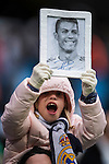 A little fan of Cristiano Ronaldo of Real Madrid show her support prior to the La Liga match between Real Madrid and Real Sporting de Gijon at the Santiago Bernabeu Stadium on 26 November 2016 in Madrid, Spain. Photo by Diego Gonzalez Souto / Power Sport Images