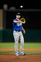 Rancho Cucamonga Quakes relief pitcher Logan Salow (49) during a California League game against the Stockton Ports at Banner Island Ballpark on May 16, 2018 in Stockton, California. Rancho Cucamonga defeated Stockton 6-3. (Zachary Lucy/Four Seam Images)