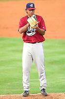 Huntsville Stars starting pitcher Yovanni Gallardo looks in for the sign versus the Carolina Mudcats at Five County Stadium in Zebulon, NC, Thursday, July 20, 2006.
