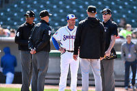 First base umpire Edwin Moscoso, third base umpire Brock Ballou, Tennessee Smokies manager Mark Johnson (8), Jackson Generals manager Shelley Duncan, and home plate umpire Ryan Wilhelms before a game between the Jackson Generals and the Tennessee Smokies at Smokies Stadium on April 11, 2018 in Kodak, Tennessee. The Generals defeated the Smokies 6-4. (Tony Farlow/Four Seam Images)