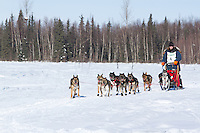 Anitra Winkler on Long lake heads towards the finish of the Jr. Iditarod   Willow, Alaska