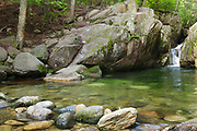 Emerald Pool along Charles Brook, located off of the Baldface Circle Trail, in the Baldface-Royce Mountain range in the White Mountains of New Hampshire during the summer months.