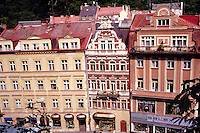 Roof view of hotels and shops on Lazenska street, Carlsbad, Karlovy Vary, Czech Republic. This is the oldest and best known spa town of western Bohemia, founded by Charles IV in 1370.
