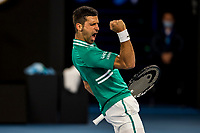 12th February 2021, Melbourne, Victoria, Australia; Novak Djokovic of Serbia celebrates after winning a game during round 3 of the 2021 Australian Open on February 12 2020, at Melbourne Park in Melbourne, Australia.