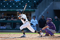 Patrick Frick (5) of the Wake Forest Demon Deacons follows through on his swing against the Furman Paladins at BB&T BallPark on March 2, 2019 in Charlotte, North Carolina. The Demon Deacons defeated the Paladins 13-7. (Brian Westerholt/Four Seam Images)