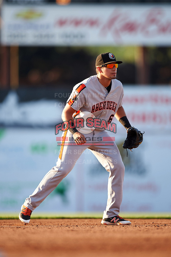 Aberdeen Ironbirds shortstop Alejandro Juvier (6) during a game against the Batavia Muckdogs on July 14, 2016 at Dwyer Stadium in Batavia, New York.  Aberdeen defeated Batavia 8-2. (Mike Janes/Four Seam Images)
