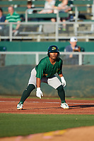 Beloit Snappers Cobie Vance (35) takes a lead off first base during a Midwest League game against the Lansing Lugnuts at Cooley Law School Stadium on May 4, 2019 in Lansing, Michigan. Beloit defeated Lansing 2-1. (Zachary Lucy/Four Seam Images)
