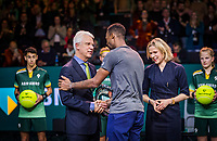 Rotterdam, The Netherlands, 15 Februari 2020, ABNAMRO World Tennis Tournament, Ahoy,<br /> Mens Single Final: Gaël Monfils (FRA)  gets the trophy handed over from the CEO of the ABNAMRO Bank Kees van Dijkhuizen and director Ahoy Jolanda Jansen<br /> Photo: www.tennisimages.com