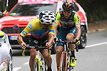 Jonathan Caicedo (ECU) EF Pro Cycling and Giovanni Visconti (ITA) Vini Zabu KTM out front on the slopes of Mount Etna during Stage 3 of the 103rd edition of the Giro d'Italia 2020 running 150km from Enna to Etna (Linguaglossa-Piano Provenzana), Sicily, Italy. 5th October 2020.  <br /> Picture: LaPresse/Fabio Ferrari | Cyclefile<br /> <br /> All photos usage must carry mandatory copyright credit (© Cyclefile | LaPresse/Fabio Ferrari)
