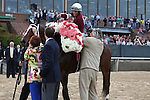 April 10, 2015: Jockey John Velazquez aboard #2 Untapable celebrating with traine Steve Asmussen after winning the Apple Blossom Handicap at Oaklawn Park in Hot Springs, AR. Justin Manning/ESW/CSM