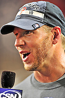 27 September 2010: Philadelphia Phillies' pitcher Roy Halladay is interviewed after pitching a complete game shutout against the Washington Nationals at Nationals Park in Washington, DC. With an 8-0 win tonight, the Philles clinched the National League Eastern Division Title. Mandatory Credit: Ed Wolfstein Photo