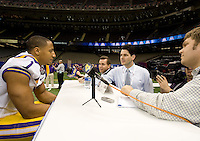 Eric Reid of LSU talks with the reporters during BCS Media Day at Mercedes-Benz Superdome in New Orleans, Louisiana on January 6th, 2012.