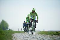 Peter Sagan (SVK/Cannondale) in sector 5: Pavé de la Justice / Pavé de Camphin-en-Pévèle<br /> <br /> 2014 Paris-Roubaix reconnaissance