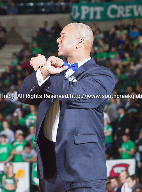 North Texas Mean Green head coach, Johnny Jones, in action during the game between the Louisiana Lafayette Ragin Cajuns and the University of North Texas Mean Green at the North Texas Coliseum,the Super Pit, in Denton, Texas. Louisiana Lafayette defeats UNT 57 to 53.