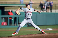 Starting pitcher Jared Milch (30) of the Stony Brook Seawolves delivers a pitch in a game against the Clemson Tigers on Friday, February 21, 2020, at Doug Kingsmore Stadium in Clemson, South Carolina. Clemson won, 2-0. (Tom Priddy/Four Seam Images)