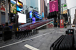 Empty streets and sidewalks are seen in the Times Square neighborhood in New York, U.S., on Thursday, March 19, 2020. New York state Governor Andrew Cuomo on Thursday ordered businesses to keep 75% of their workforce home as the number of coronavirus cases rises rapidly. Photograph by Michael Nagle/Redux