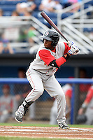 Brooklyn Cyclones outfielder John Mora (26) at bat during a game against the Batavia Muckdogs on August 11, 2014 at Dwyer Stadium in Batavia, New York.  Batavia defeated Brooklyn 4-3.  (Mike Janes/Four Seam Images)
