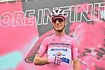 Race leader Maglia Rosa Joao Almeida (POR) Deceuninck-Quick Step at sign on before the start of Stage 5 of the 103rd edition of the Giro d'Italia 2020 running 225km from Mileto to Camigliatello Silano, Sicily, Italy. 7th October 2020.  <br /> Picture: LaPresse/Massimo Paolone | Cyclefile<br /> <br /> All photos usage must carry mandatory copyright credit (© Cyclefile | LaPresse/Massimo Paolone)
