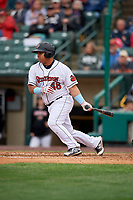 Rochester Red Wings Willians Astudillo (48) at bat during an International League game against the Charlotte Knights on June 16, 2019 at Frontier Field in Rochester, New York.  Rochester defeated Charlotte 3-2 in the second game of a doubleheader.  (Mike Janes/Four Seam Images)