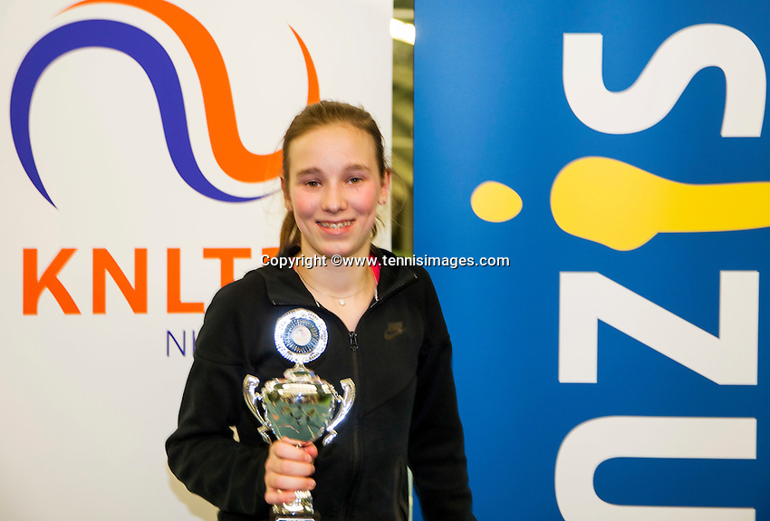 Rotterdam, The Netherlands, March 13, 2016,  TV Victoria, NOJK 12/16 years, Runner up girls 12 years Anouk Koevermans (NED)<br /> Photo: Tennisimages/Henk Koster