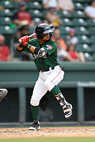 Second baseman Kervin Suarez (36) of the Greenville Drive bats in a game against the Asheville Tourists on Sunday, June 3, 2018, at Fluor Field at the West End in Greenville, South Carolina. Greenville won, 7-6. (Tom Priddy/Four Seam Images)