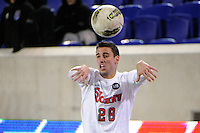 Nick Matthews (28) of the St. John's Red Storm. St. John's defeated Villanova 2-0 during the second semifinal match of the Big East Men's Soccer Championships at Red Bull Arena in Harrison, NJ, on November 11, 2011.