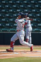 Rafael Marchan (13) of the Lakewood BlueClaws follows through on his swing against the Hickory Crawdads at L.P. Frans Stadium on April 28, 2019 in Hickory, North Carolina. The Crawdads defeated the BlueClaws 10-3. (Brian Westerholt/Four Seam Images)